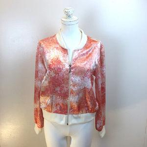 Lace Floral Design Coat Zip Bomber Baseball Jacket